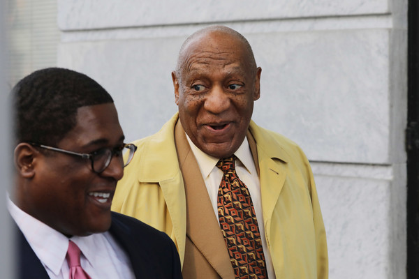 Bill Cosby(R) arrives for a pre-trial hearing at the Montgomery County Courthouse in Norristown, Pennsylvania, on February 27, 2017..
