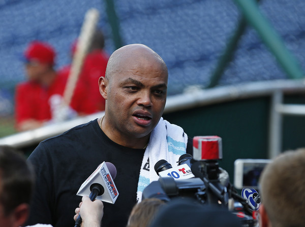 Former NBA player Charles Barkley talks with reporters as of the Philadelphia Phillies take batting practice before a game against the Chicago Cubs at Citizens Bank Park on June 6, 2016 in Philadelphia, Pennsylvania.