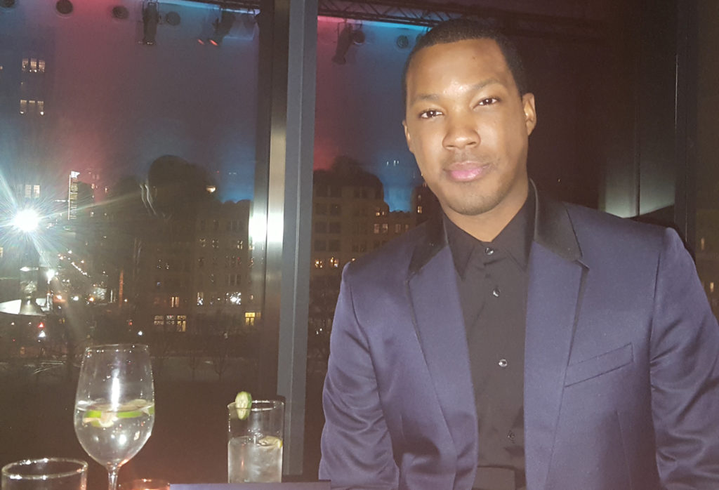 CoreyHawkins at '24: Legacy' Fox party with the NY city lights at a backdrop. (MMoore Photo)