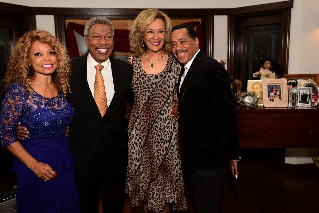 Florence LaRue's 75th birthday bash, with fellow 5th Dimension members Billy Davis, Jr. and Marilyn McCoo, along with long time friend Obba Babatunde. Photo courtesy of Gibson PR