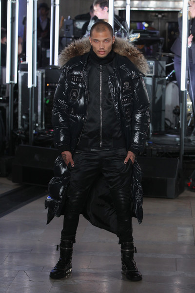 Model Jeremy Meeks walks the runway wearing look #1 for the Philipp Plein Fall/Winter 2017/2018 Women's And Men's Fashion Show at The New York Public Library on February 13, 2017 in New York City.