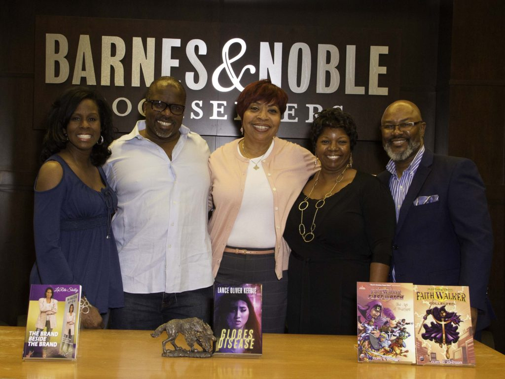 Barnes & Noble at The Grove (at Farmers Market) welcomes local authors. (Lf-Rt: LaRita Shelby, Lance Oliver Keeble, B&N Store Manager Gwendolyn Wilkerson Jones, Shawntrice & Clint Johnson) Photos by Curtis Sabir