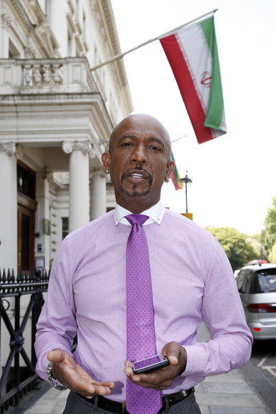 Television personality Montel Williams Visits The Iranian Embassy, London where he attempted to meet with the Iranian Chief of Mission to talk about Amir Hekmati, an American hostage held by Iran on June 26, 2015 in London, England.