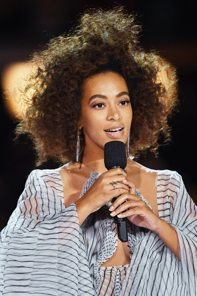 Recording artist Solange Knowles speaks onstage during The 59th GRAMMY Awards at STAPLES Center on February 12, 2017 in Los Angeles, California.