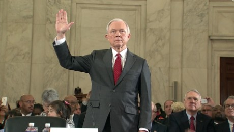 jeff sessions (with hand up taking oath)