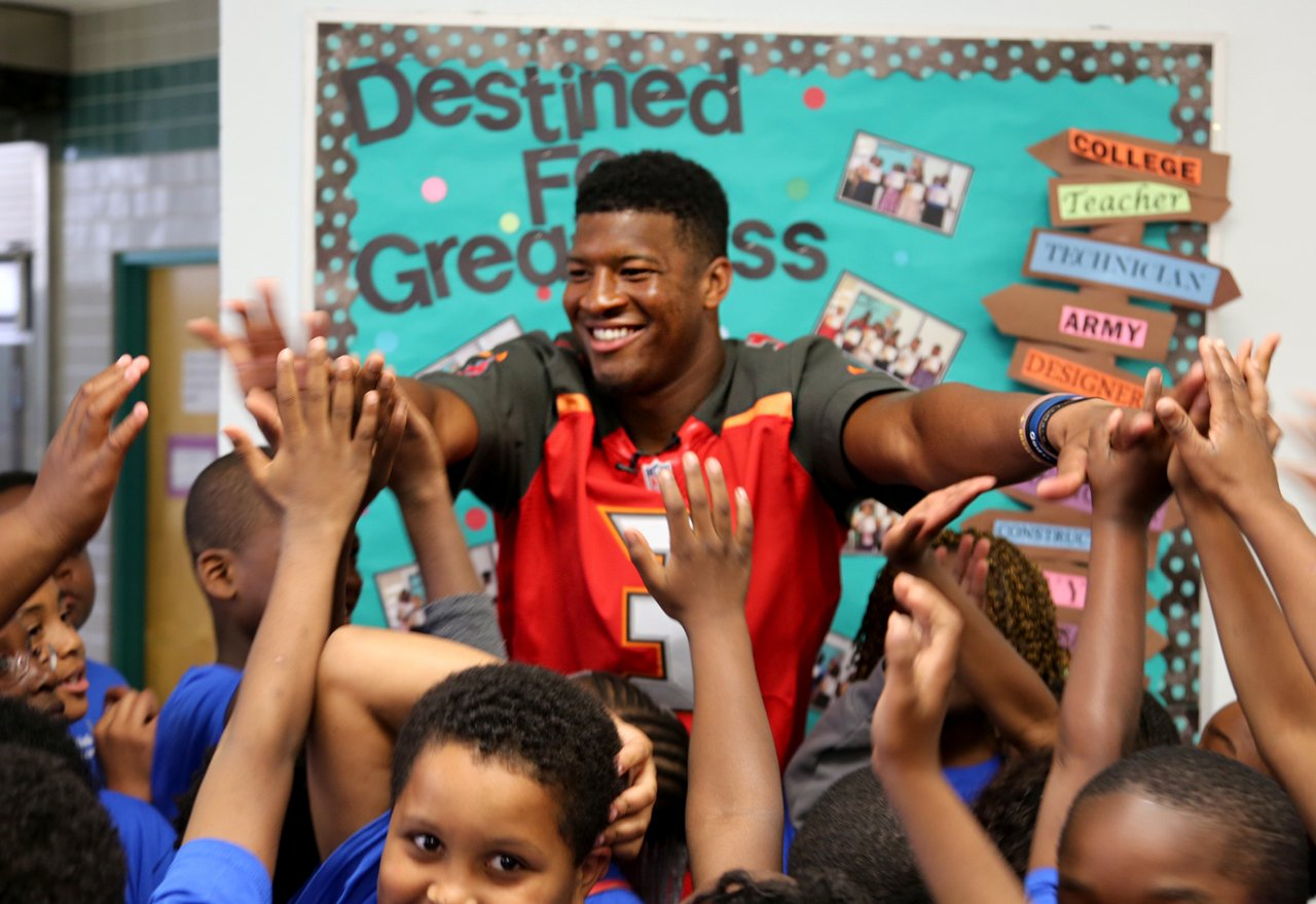 Buccaneers QB Jameis Winston spoke to scholars at St. Petersburg's Melrose Elementary School