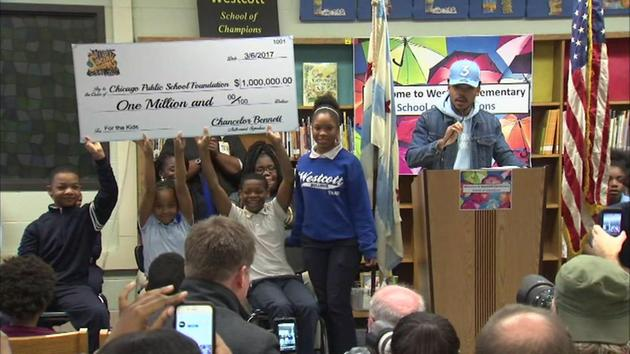 Chance the Rapper holds press conference at Westcott Elementary School on Chicago's South Side (March 6, 2017)