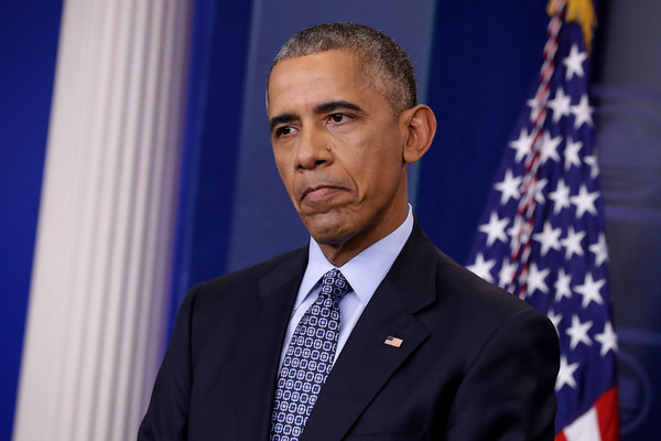 U.S. President Barack Obama holds the last news conference of his presidency in the Brady Press Briefing Room at the White House January 18, 2017 in Washington, DC.