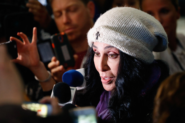 Musician Cher is interviewed at Democratic presidential nominee former Secretary of State Hillary Clinton's election night event at the Jacob K. Javits Convention Center November 9, 2016 in New York City.