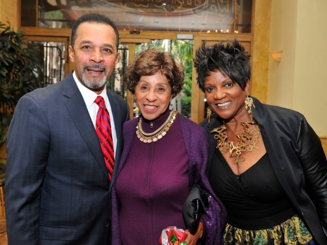 TV Stars Clifton Davis, Jr., Marla Gibbs and Anna Maria Horsford arrive at the Taglyan Cultural Center for Nancy Wilson's 80th Birthday Bash 2/20/2017