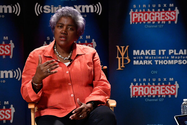 """DNC Chair Donna Brazile speaks with host Mark Thompson (not pictured) during a """"Leading Ladies"""" discussion at SiriusXM studios on October 17, 2016 in Washington, DC."""