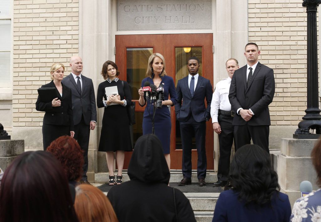 Shots Fired by Gina Prince-Blythewood and Reggie Rock Blythewood premieres Wed at 8pm on Fox. (Helen Hunt -center- stars as Gov. Patricia Eamons, and Stephan James- 3rd from Left- stars as Preston Terry)