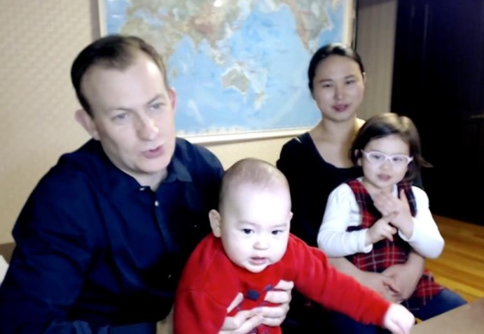 Robert Kelly, his wife Kim Jung-A and their kids