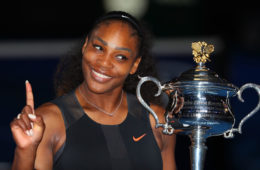 Serena Williams poses with the Daphne Akhurst Trophy after winning the Women's Singles Final against Venus Williams of the United States on day 13 of the 2017 Australian Open at Melbourne Park on January 28, 2017 in Melbourne, Australia.