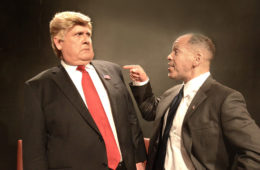"""Harry S. Murphy as Donald Trump and Joshua Wolf Coleman as Barack Obama in """"Transition"""" at The Lounge Theatre. Photo Credit: Ed Krieger"""