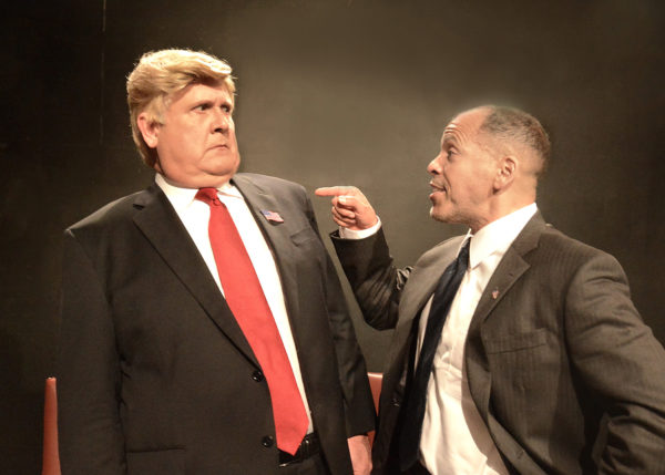 "Harry S. Murphy as Donald Trump and Joshua Wolf Coleman as Barack Obama in ""Transition"" at The Lounge Theatre. Photo Credit: Ed Krieger"