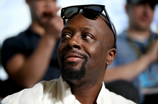 Wyclef Jean is seen at the driver's meeting prior to the NASCAR Sprint Cup Series DAYTONA 500 at Daytona International Speedway on February 21, 2016 in Daytona Beach, Florida.