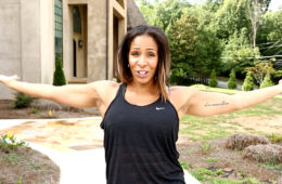 Sheree Whitfield in front of Chateau Sheree (Bravo)