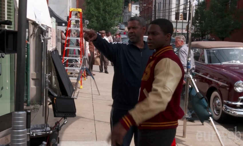 Denzel Washington & Jovan Adepo on the set of 'Fences'