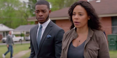 Stephan James and Sanaa Lathan in 'Shots Fired.'
