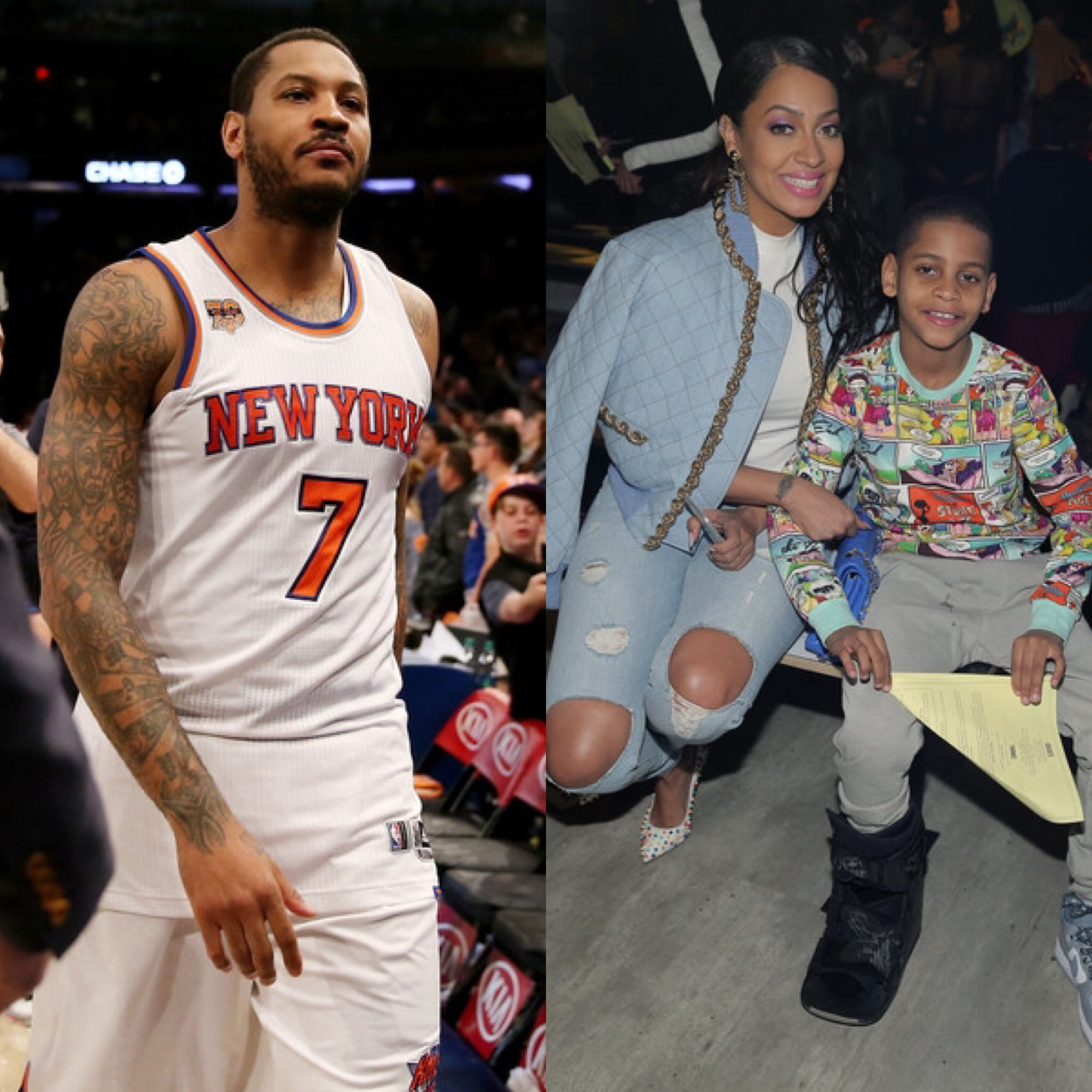 Carmelo Anthony, La La Anthony and Kiyan Anthony
