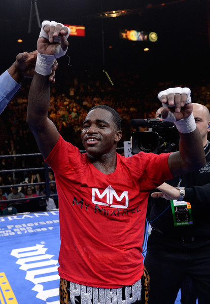 Adrien Broner celebrates after defeating John Molina Jr. in a Premier Boxing Champions bout in the MGM Grand Garden Arena on March 7, 2015 in Las Vegas, Nevada.