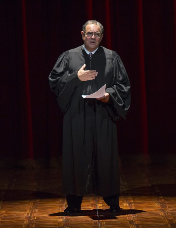 Edward Gero as Antonin Scalia in The Originalist at The Pasadena Playhouse. Photo by Jim Cox Photography