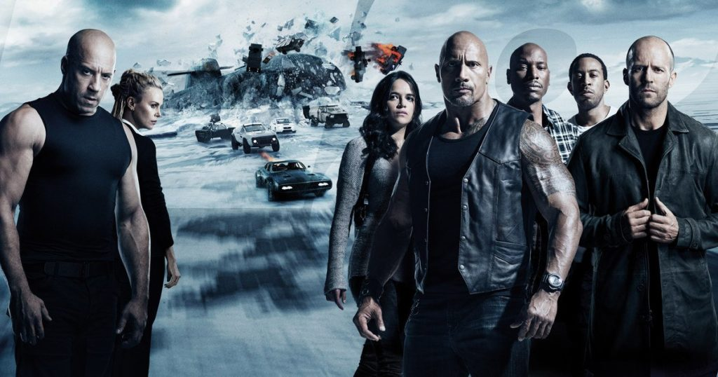 Universal Pictures' The Fate of the Furious 8 stars Vin Diesel, Charlize Theron, Michelle Rodriguez, Dwayne Johnson, Tyrese Gibson, Chris Bridges and Jason Statham.