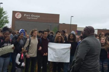 Parents and students protest at Fort Osage High School. Mará Rose Williams The Kansas City Star