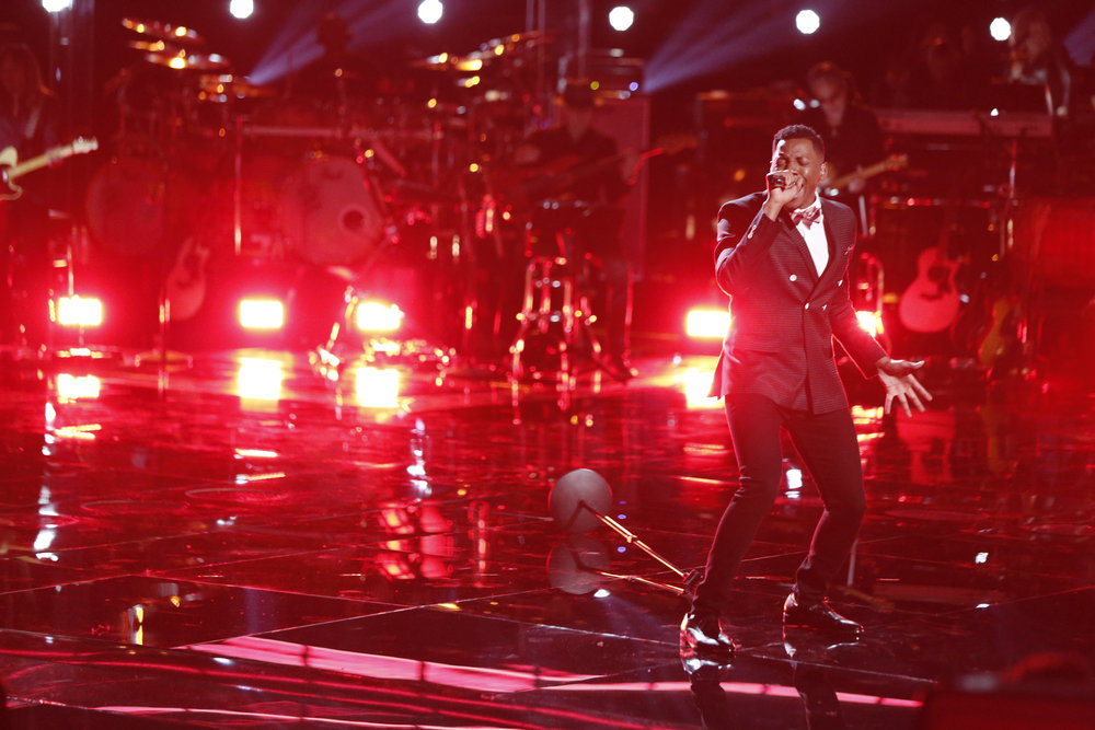 "THE VOICE -- ""Live Playoffs"" Episode 1214A -- Pictured: Chris Blue -- (Photo by: Tyler Golden/NBC)"