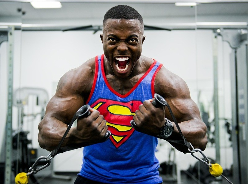 black weight trainer - superman t-shirt