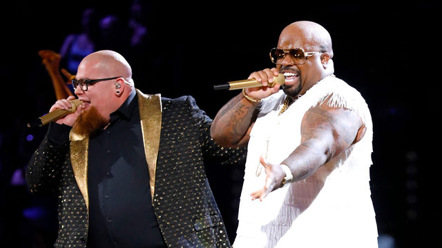 "Jesse Larson (L) and Cee Lo Green on ""The Voice,"" May 23, 2017 (NBC)"