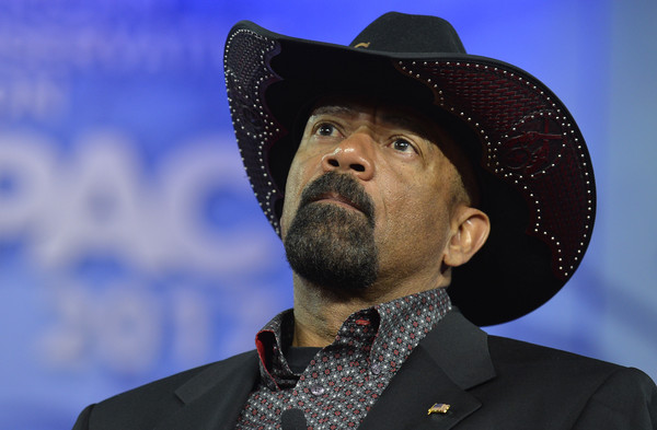Milwaukee County Sheriff David A. Clarke, Jr. listens to remarks during the Conservative Political Action Conference (CPAC) at National Harbor, Maryland, February 23, 2017