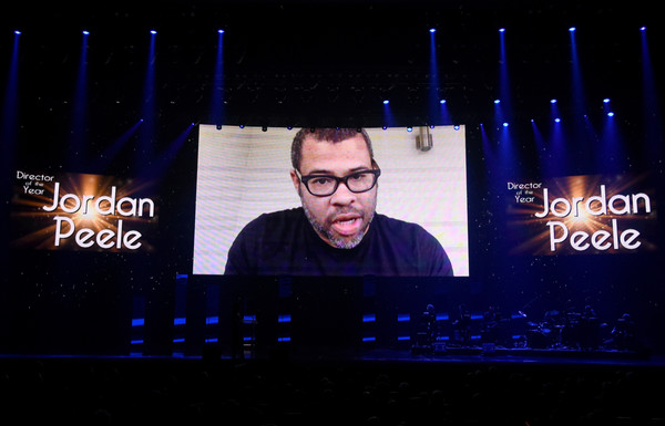 Actor/filmmaker Jordan Peele, recipient of the Director of the Year Award, is seen onstage at the CinemaCon Big Screen Achievement Awards brought to you by the Coca-Cola Company at The Colosseum at Caesars Palace during CinemaCon, the official convention of the National Association of Theatre Owners, on March 30, 2017 in Las Vegas, Nevada.