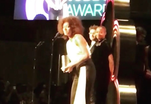 Solange accepts her Webby Award at New York's Cipriani Wall Street (May 15, 2017)
