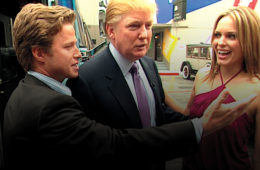 VIDEO FRAME GRAB: In this 2005 frame from video, Donald Trump (center)prepares for an appearance on 'Days of Our Lives' with actress Arianne Zucker (right). He is accompanied to the set by Access Hollywood host Billy Bush (left). (Obtained by The Washington Post via Getty Images)