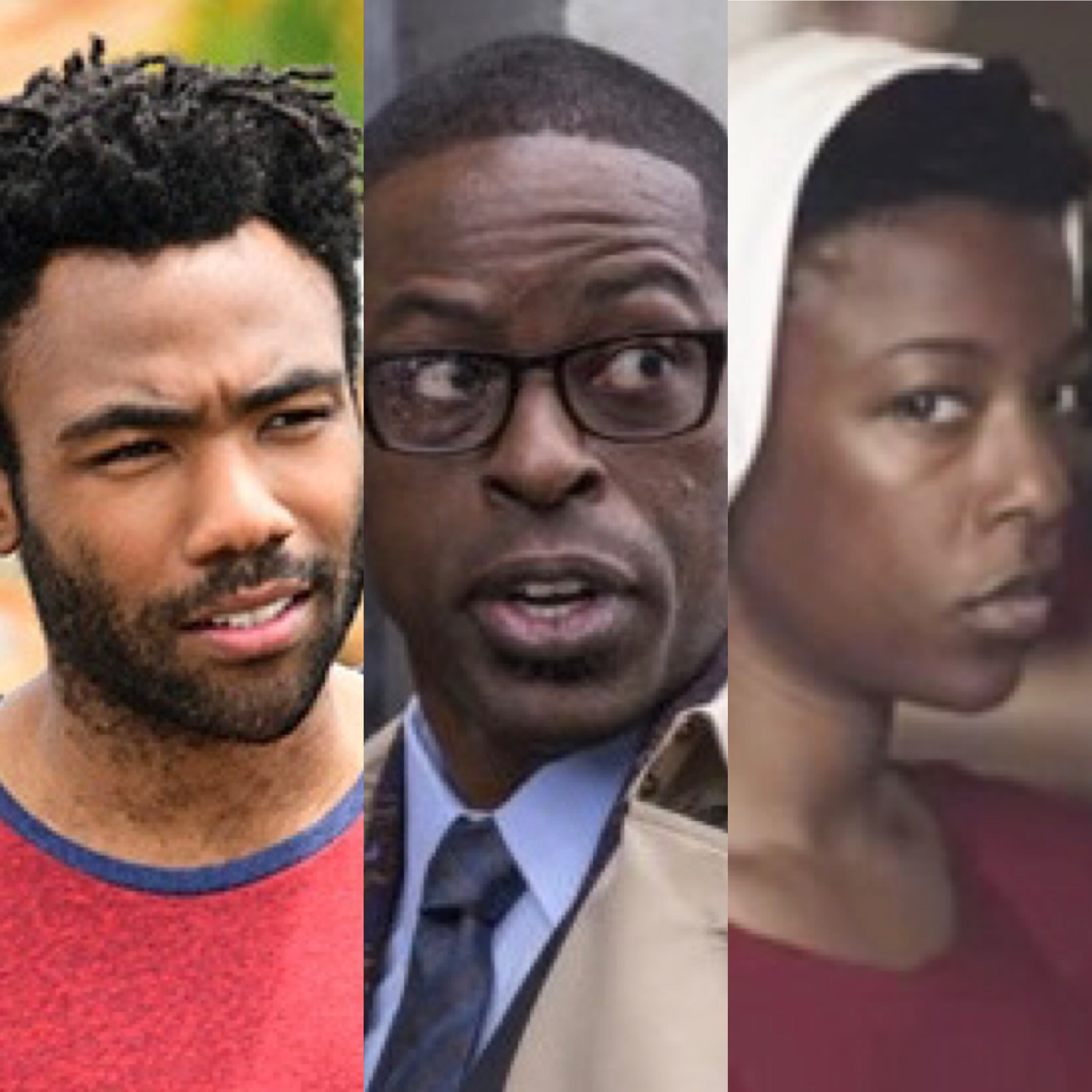 L-R: Donald Glover (Atlanta), Sterling K. Brown (This Is Us), Samira Wiley (The Handmaid's Tale)