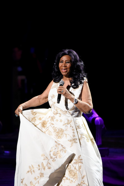 "Aretha Franklin performs onstage during the ""Clive Davis: The Soundtrack of Our Lives"" Premiere Concert during the 2017 Tribeca Film Festival at Radio City Music Hall on April 19, 2017 in New York City."