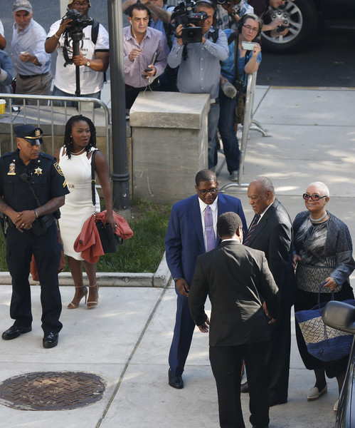 Bill and Camille Cosby, at right, arrive at the Montgomery County Courthouse on June 12, 2017 in in Norristown, Pennsylvania.