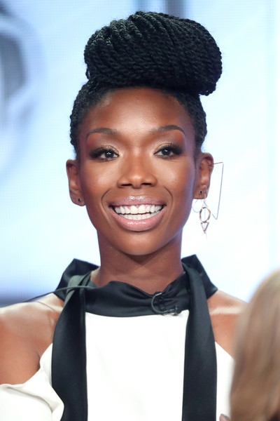 Singer Brandy of the television show 'My Kitchen Rules' speaks onstage during the FOX portion of the 2017 Winter Television Critics Association Press Tour at Langham Hotel on January 11, 2017 in Pasadena, California.