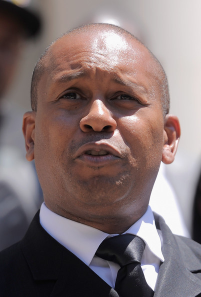 Writer and activist Kevin Powell speaks during The Monumental 5 Press Conference on the steps of New York City Hall on July 5, 2011 in New York City.