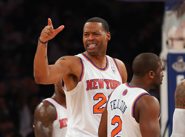 Marcus Camby #23 of the New York Knicks is ejected from the game against the Memphis Grizzlies at Madison Square Garden on March 27, 2013 in New York City.