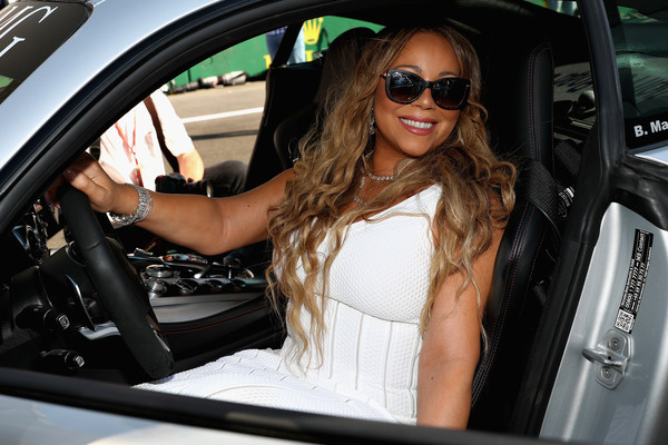 Singer Mariah Carey poses for a photo in the saftey car on the grid before the Azerbaijan Formula One Grand Prix at Baku City Circuit on June 25, 2017 in Baku, Azerbaijan.