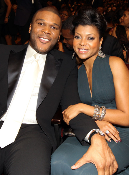 Director Tyler Perry and actress Taraji P. Henson in the audience during the 41st NAACP Image awards held at The Shrine Auditorium on February 26, 2010 in Los Angeles, California.