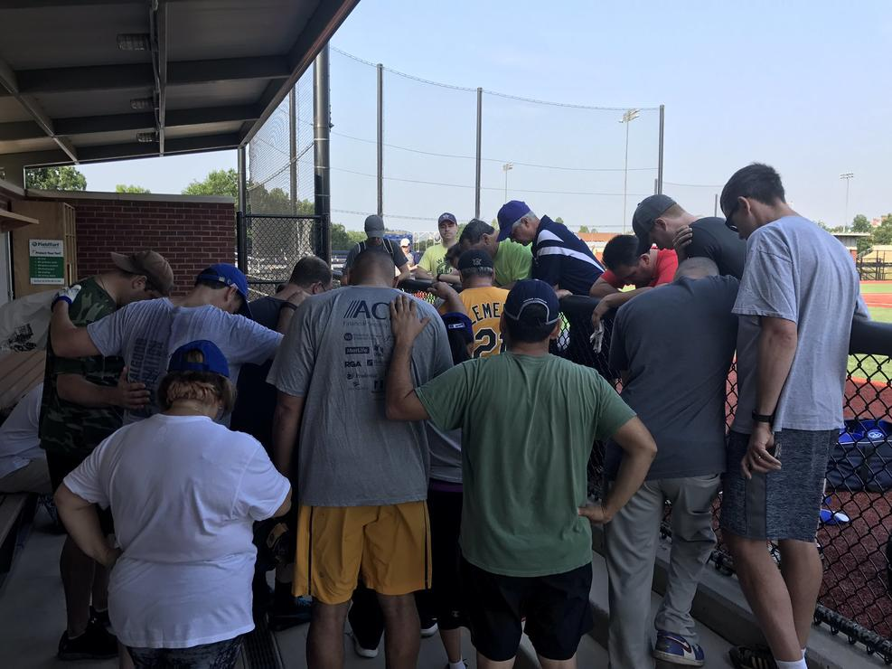 Rep. Ruben Kihuen posted a photo to Twitter of House Democrats praying for the Congressional Republicans who were shot during a baseball practice in Alexandria, Virginia on June 14.