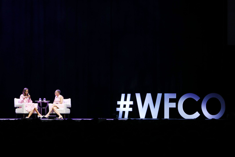 DENVER, CO - JULY 25: Former First Lady Michelle Obama emphasized that women must celebrate their strength during a live conversation with The WomenÕs Foundation of Colorado President and CEO Lauren Y. Casteel at Pepsi Center on July 25, 2017 in Denver, Colorado. (Photo by Jason Bahr/Getty Images for The Women's Foundation of Colorado)