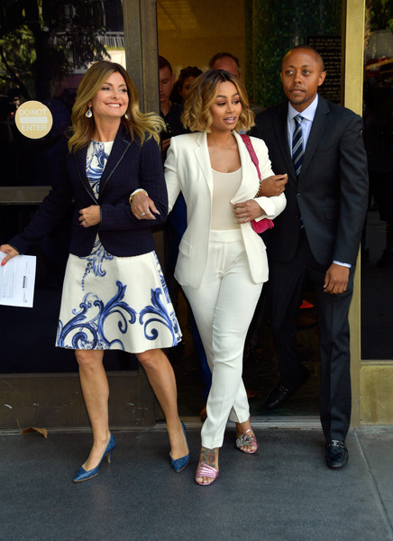 (L-R) Lisa Bloom, Blac Chyna and Walter Mosley attend a pre-court hearing press conference at Los Angeles Superior Court on July 10, 2017 in Los Angeles, California.