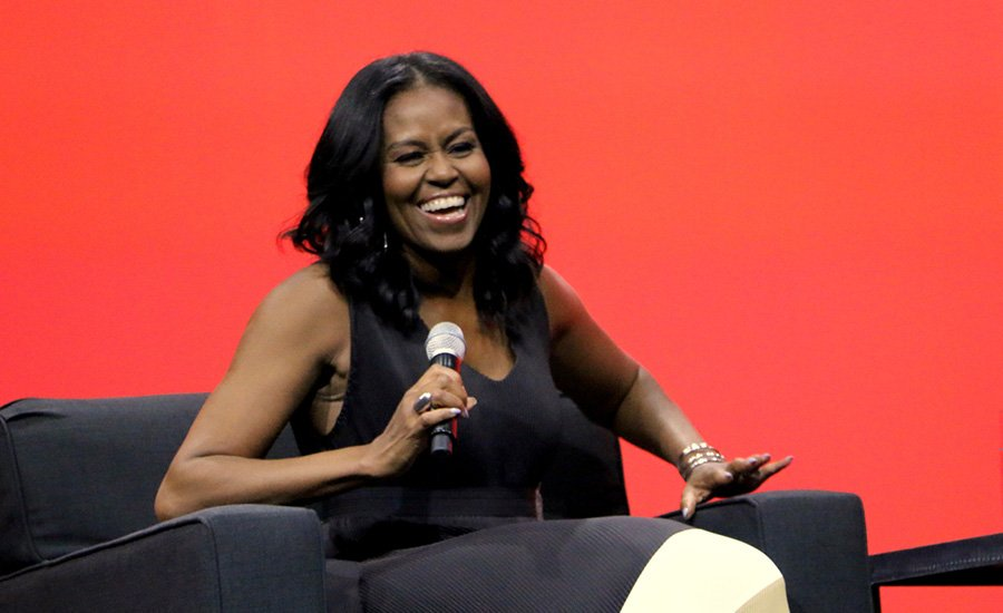 ORLANDO, FL – APRIL 27: Former United States first lady Michelle Obama smiles during a conversation at the AIA Conference on Architecture 2017 on April 27, 2017 in Orlando, Florida.