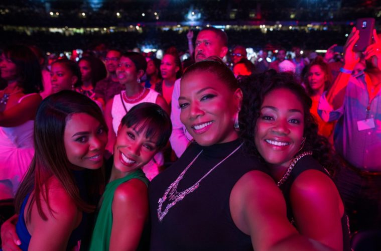 "(L-R) Regina Hall, Jada Pinkett Smith, Queen Latifah and Tiffany Haddish in ""Girls Trip"""