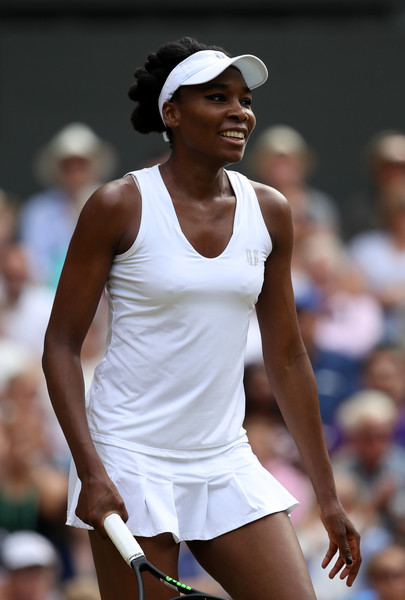 Venus Williams of The United States smiles during the Ladies Singles semi final match against Johanna Konta of Great Britain on day ten of the Wimbledon Lawn Tennis Championships at the All England Lawn Tennis and Croquet Club at Wimbledon on July 13, 2017 in London, England.